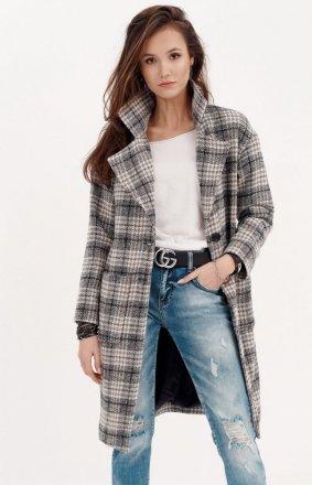 Oversizowy płaszcz w kratę 0014/A02