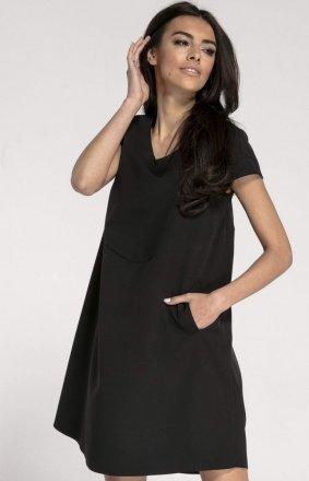 Oversizowa casualowa sukienka czarna NA1003