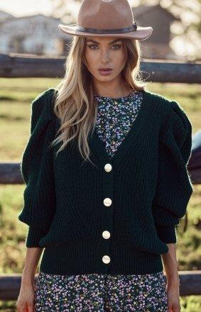 Krótki sweter z bufkami zielony M629