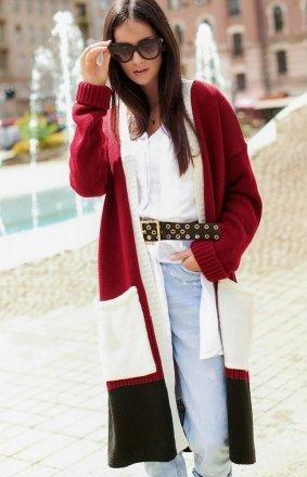 Długi trójkolorowy sweter kardigan bordowy S70
