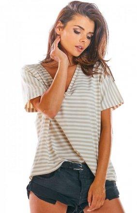 Oversizowa bluzka w beżowe paski M203
