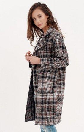 Oversizowy płaszcz w kratę 0014/A01