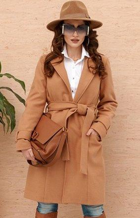 Wiązany płaszcz damski karmelowy 0019