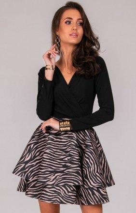 Elegancka sukienka z podwójną falbaną zebra 258