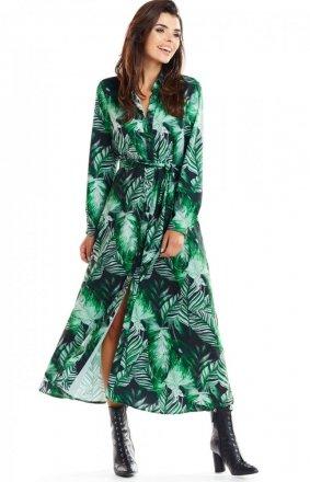 Koszulowa długa sukienka A324 zielony print