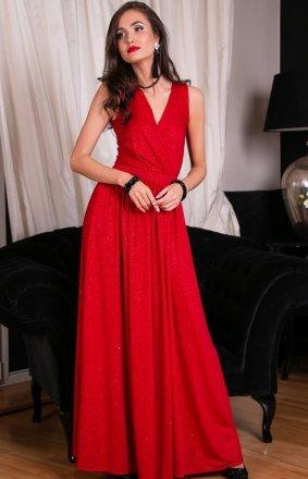 Wieczorowa długa sukienka czerwona Roco 0224