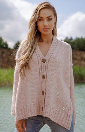 Oversizowy sweter z guzikami pink LS344