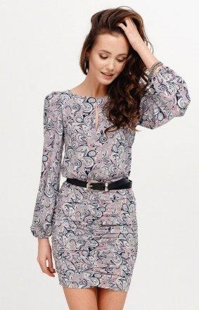 *Ołówkowa sukienka z bufiastymi rękawami multi 0280/S28