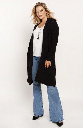MKM PA008 swetrowy płaszcz czarny