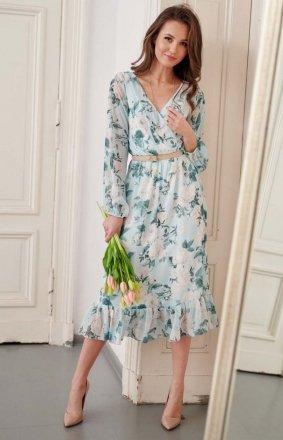 Sukienka midi z falbaną w kolorowe kwiaty 0241/R30