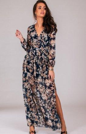 *Długa sukienka w modny print 0219/D79