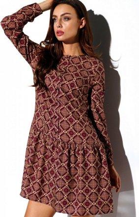 Koszulowa sukienka w kolorowe wzory L311/D7