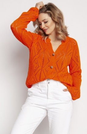 MKM SWE233 rozpinany sweter pomarańczowy