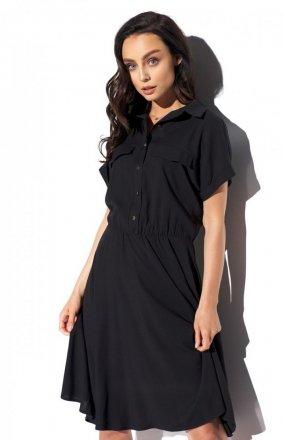 Koszulowa sukienka czarna L331
