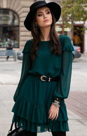 Szyfonowa zielona sukienka 259