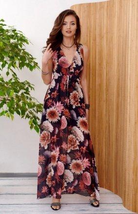 Długa sukienka w kwiatowy print 0287/R48