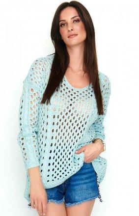Ażurkowy sweter błękitny S59