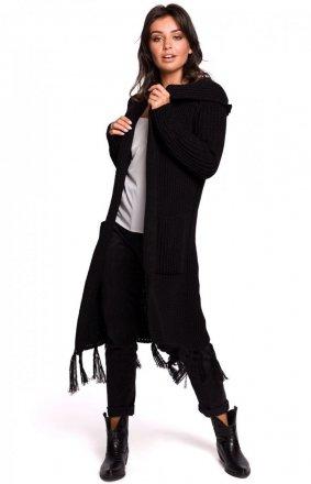 Długi kardigan z frędzlami czarny BK032