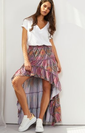Asymetryczna sukienka z falbaną LG544/D20