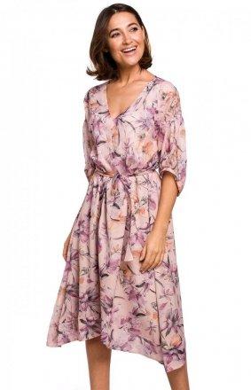 Szyfonowa sukienka w różowe kwiaty S226/2