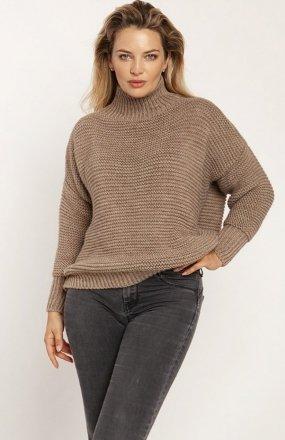 MKM SWE246 żebrowany sweter z golfem mocca