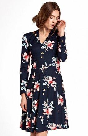 *Nife S109K/G sukienka w kwiaty granatowa