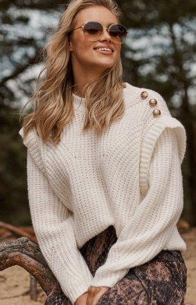 Damski sweter z falbankami ecru S117