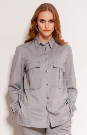 Koszula oversize z dużymi kieszeniami szara K114