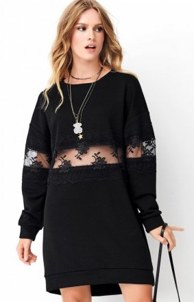 Czarna sukienka z koronką NU260