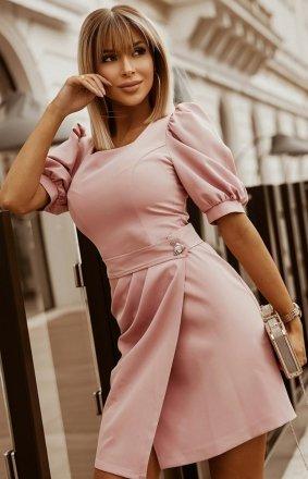 Bicotone sukienka wizytowa z broszką pudrowa 2222-12