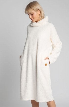 Lalupa ciepła pluszowa ecru sukienka domowa