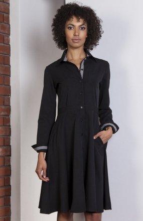 Rozkloszowana sukienka czarna SUK151