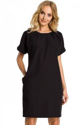 Czarna sukienka z ozdobnym dekoltem M337