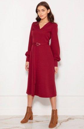 Sukienka z efektownymi rękawami bordowa SUK189