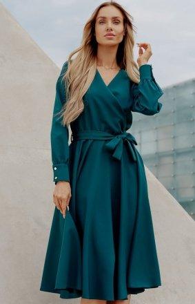 Casualowa sukienka midi butelkowa zieleń L392A