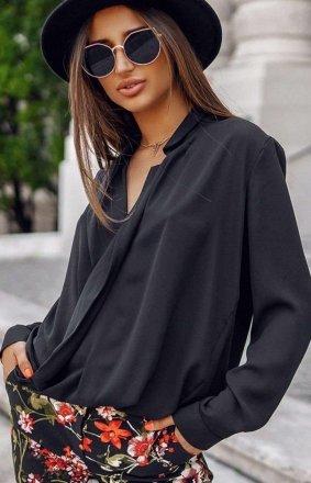 Elegancka przekładana bluzka Lola Fashion czarna