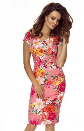 Ołówkowa koktajlowa sukienka w kolorowe kwiaty