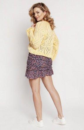 MKM SWE233 rozpinany sweter żółty