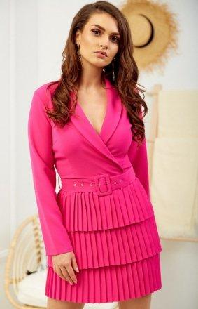 Kopertowa sukienka z plisowaniem różowa