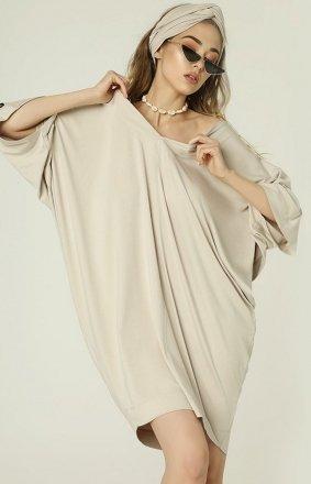 Oversizowa sukienka Nelly beżowa MAD482