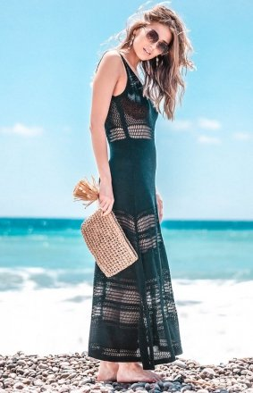 Sukienka plażowa czarna F733