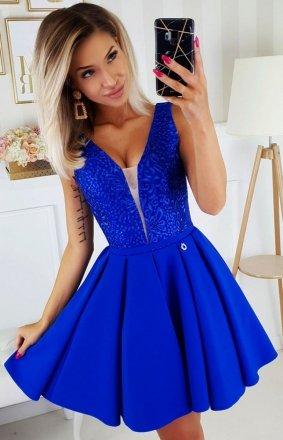 Wieczorowa chabrowa sukienka z wiązaniem 2196-05