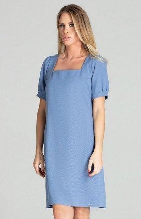 Sukienka w kratę Figl M704 niebieska