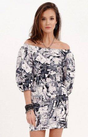 Dopasowana sukienka letnia z hiszpańskim dekoltem 0278/B05