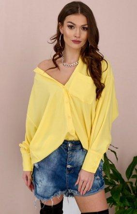 Oversizowa koszula damska 0107 żółta