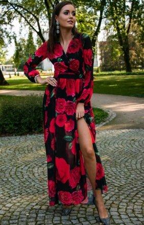 Długa sukienka w kwiaty 0219/D46