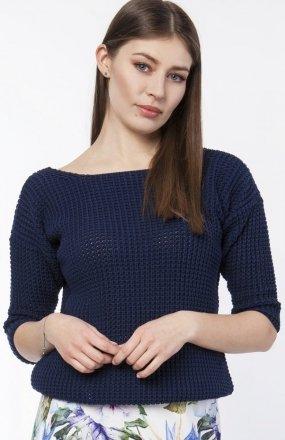 Sweter z dekoltem z przodu lub z tyłu granat SWE118