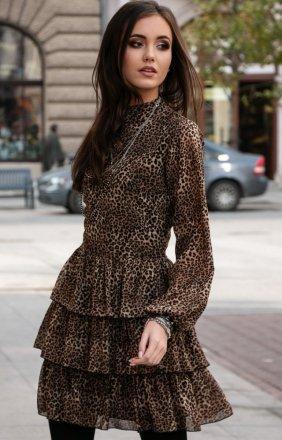Kobieca sukienka w panterkę 0261/D85