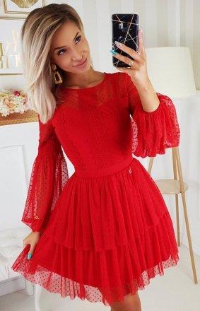 Czerwona sukienka z bufiastymi rękawami 2191-02