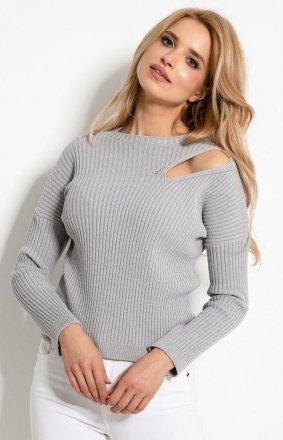 Sweterkowa bluzka z rozcięciem szara F920